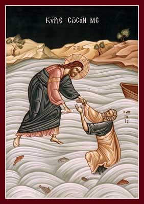 Hristos-intinde-mana-lui-petru