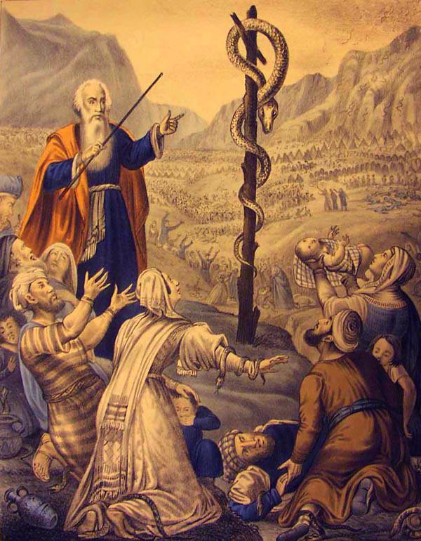 Crucea pe care Moise, în pustie, a spânzurat chipul şarpelui închipuia profetic şi zguduitor semnul Cruci